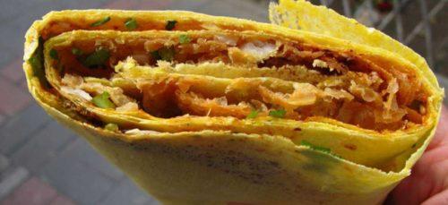 jianbing chinese breakfast crepe
