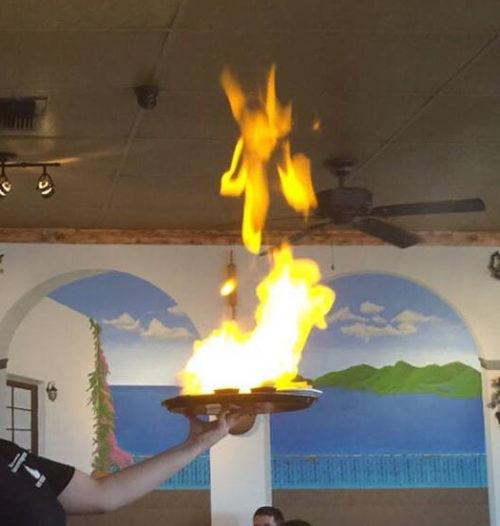 flaming cheese saganaki dallas texas