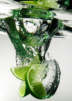 lime infused water with lime
