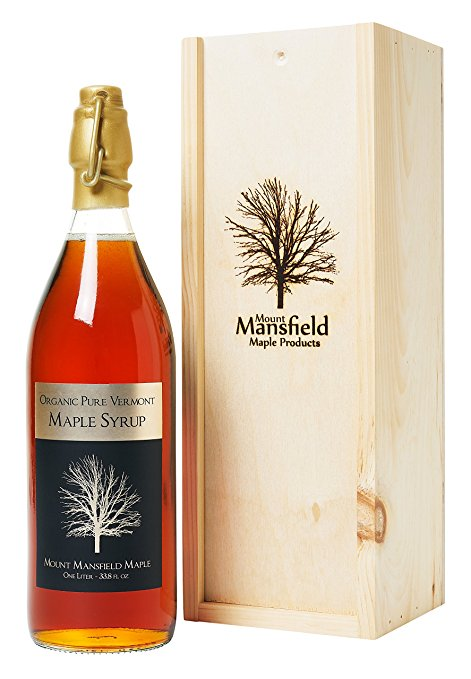 foodie food lover gifts Organic Pure Vermont Maple Syrup in Swing-Top Bottle with Wooden Gift Box