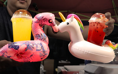 Crazy Drink Containers: Cups are out. Baby bottles and drink floaties are in.